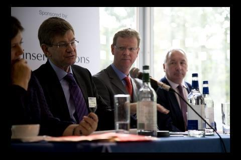 John Stewart, director of economic affairs at the HBF, Richard Bailey, director at HBG, Stephen Stone, chief executive of Crest Nicholson